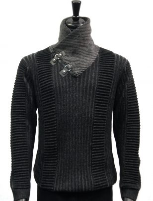 LaVane Black Grey Textured Buckle Zip Up High Collar Cold Weather Sweater