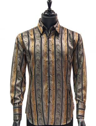 Manzini New Mens Brown Black Striped Paisley Design Button Up Dress Shirt
