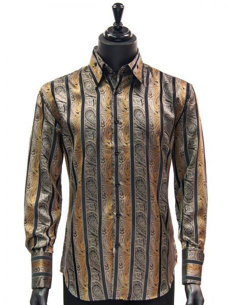 Manzini New Mens Brown Black Striped Paisley Design Button Up Dress Shirt