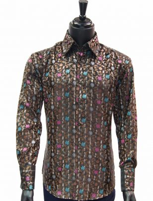 Manzini New Mens Brown Pink Blue Floral Design Fashion Button Up Dress Shirt
