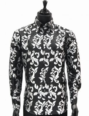 Manzini New Mens Black Silver Fancy Patterned Fashion Button Up Dress Shirt
