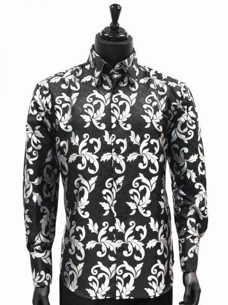 Manzini New Mens Black Silver Fancy Patterned Fashion Button Up Dress Shirt