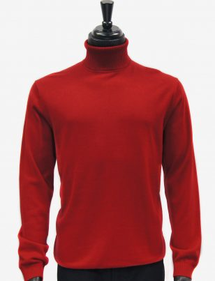 LaVane Mens Solid Red Turtle Neck Casual Sweater