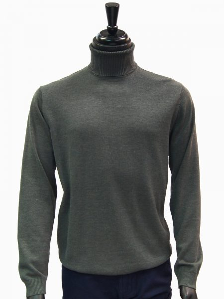 LaVane Mens Solid Charcoal Gray Turtle Neck Casual Sweater