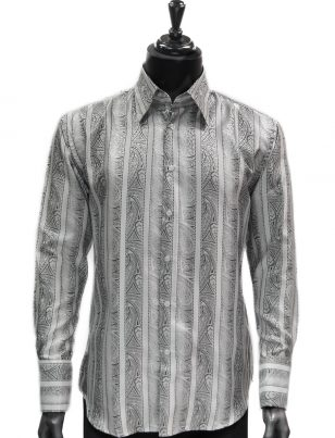 Manzini New Mens White Black Striped Paisley Design Button Up Dress Shirt