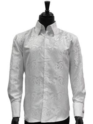 Manzini Mens White Paisley Design Trendy Fashion Dress Button Down Dress Shirt
