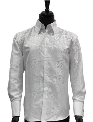 Manzini Mens White Paisley Design Trendy Fashion Dress Button Down Dress Shirt