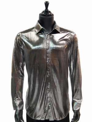 Prestige Mens Silver Liquid Metal Polyester Trendy Party Dress Button Up Shirt