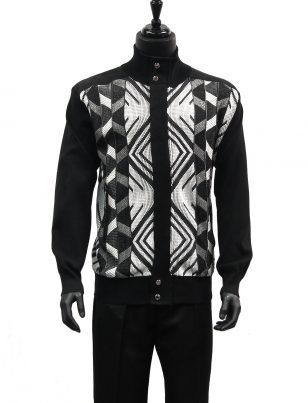 SilverSilk Black White Geometric Pattern 2 Piece Comfort Zip Up Walking Suit