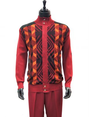SilverSilk Red Orange Geometric Pattern 2 Piece Comfort Zip Up Walking Suit