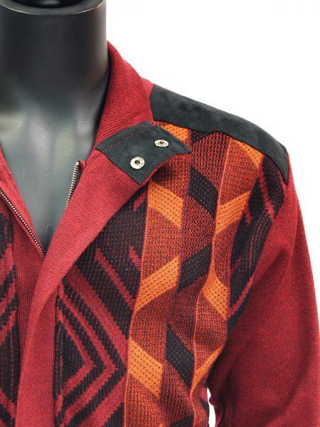 SilverSilk Red Orange Geometric Pattern 2 Piece Comfort Zip Up Walking Suit