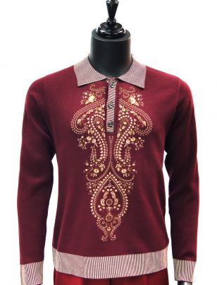 New Prestige Mens Burgundy Tan Elegant Embroidered Quarter Button Up Sweater