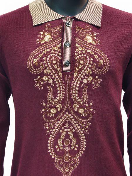 New Prestige Mens Burgundy Tan Elegant Embroidered Quarter Button Up Sweater
