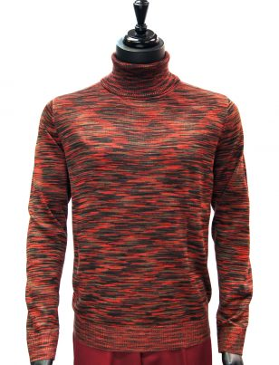 Prestige Mens Burgundy Black Multicolor Lightweight Casual Turtle Neck Sweater