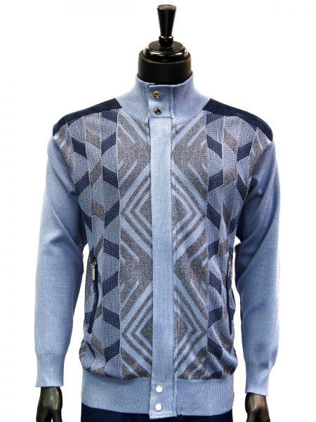 SilverSilk Navy White Geometric Pattern 2 Piece Comfort Zip Up Walking Suit