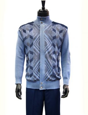 SilverSilk Arctic Blue Geometric Pattern 2 Piece Comfort Zip Up Walking Suit