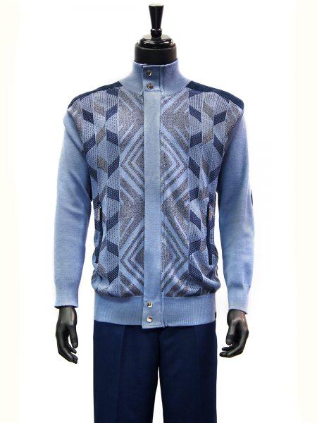 SilverSilk Arctic Blue Geometric Pattern 2 Piece Comfort Zip Up Walking Suit