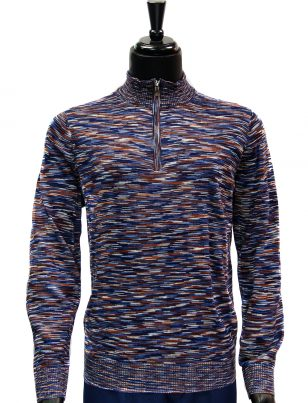 Prestige Mens Navy Cognac Multicolor Quarter Zip Up Lightweight Sweater