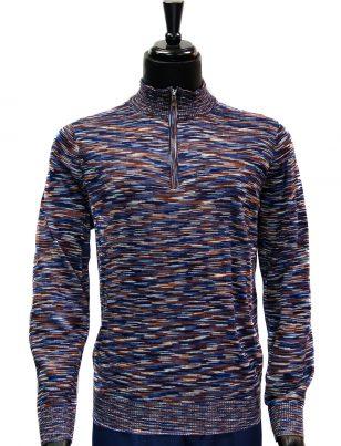 Prestige Mens Navy Cognac Multicolor Quarter Zip Up Lightweight Sweater