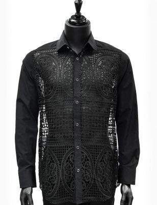 Prestige Mens Black Mosaic Cut Out Design Button Up Trendy Dress Shirt