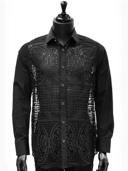 Prestige Mens Black Mosaic Cut Out Design Button Up Trendy Dress Shirt