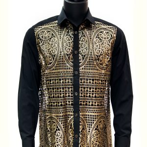 Prestige Men Gold Black Mosaic Cut Out Style Button Up Trendy Party Dress Shirt
