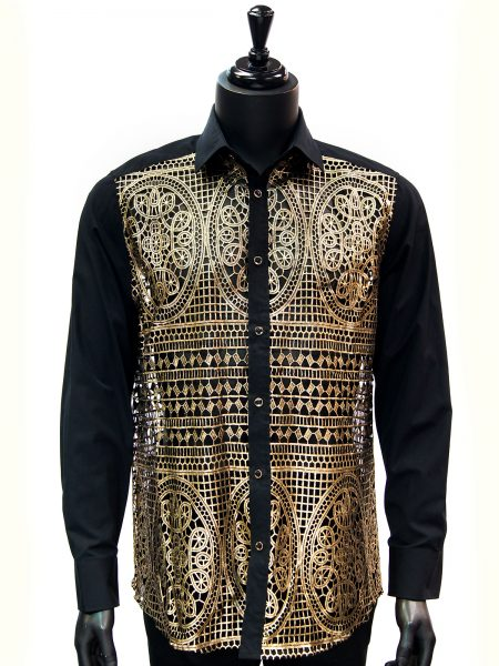 Prestige Mens Gold Black Mosaic Cut Out Design Button Up Trendy Dress Shirt