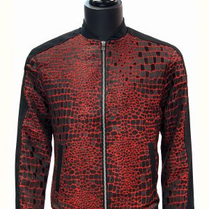 Angelino Mens Red Black Crocodile Design Zip Up Dress Casual  Bomber Fun Jacket