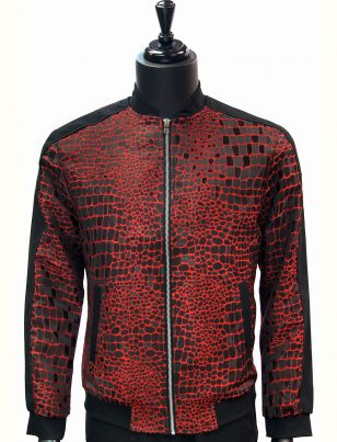 Angelino Mens Red Black Crocodile Print Color Block Zip Up Bomber Jacket