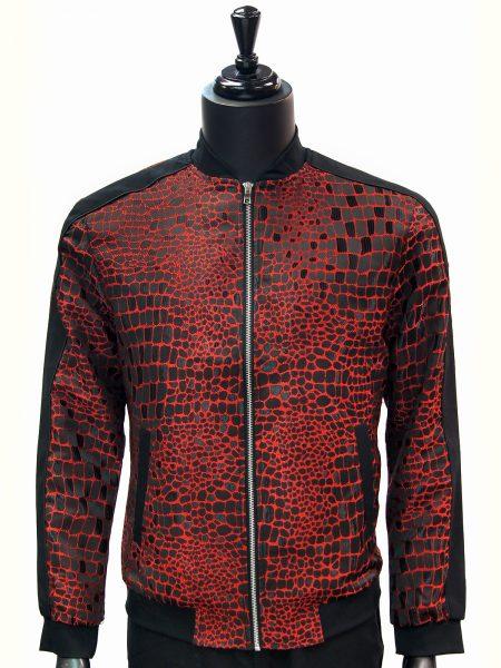 Angelino Mens Red Black Crocodile Print Color Block Zip Up Bomber Jacket