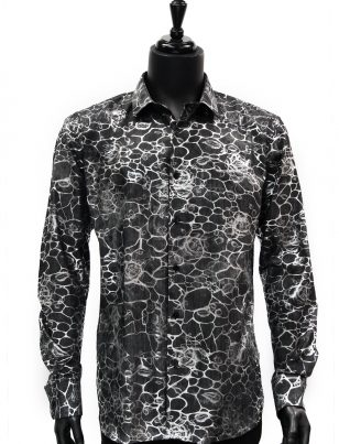 Barabas Mens Black Denim Silver Metallic Rose Vine Design Button Up Shirt