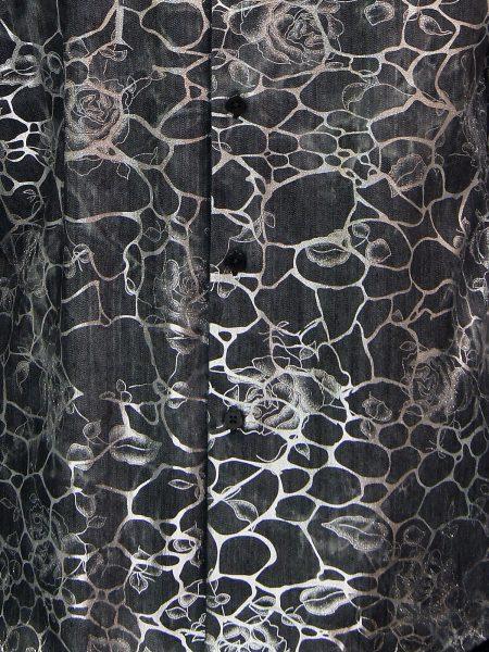 Barabas Mens Black Denim Silver Metallic Rose Vine Design Button Up Shirt