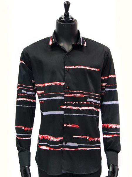 Barabas Mens Black Red Lightening Striped Casual Trendy Button Up Shirt