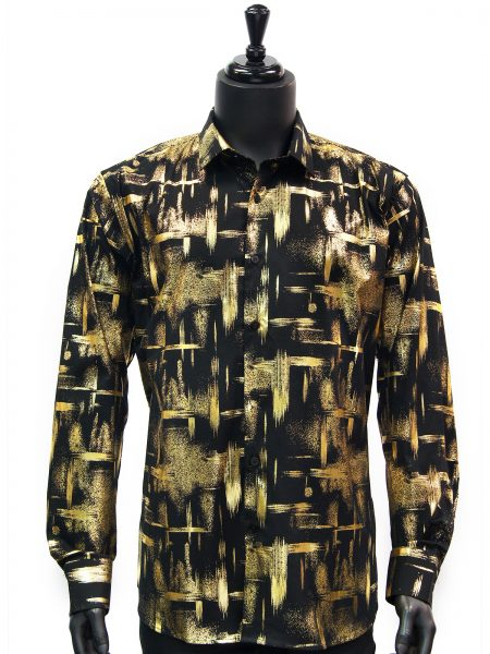 Mens Black Gold Brush Design Dress Casual Long Sleeve Trendy Cotton New Shirt