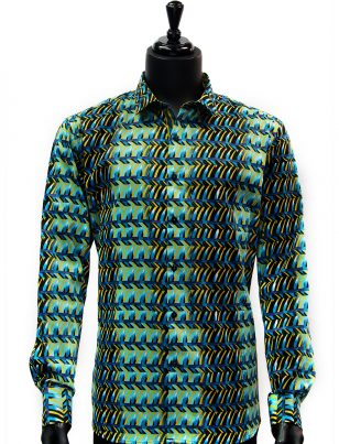 Barabas Mens Jade Green Yellow Black Geometric Pattern Party Button Up Shirt