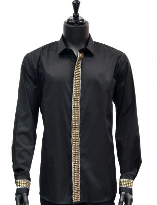 Barabas Mens Gold Studded Rhinestone Embellished Black Button Up Dress Shirt