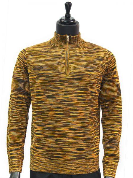 Prestige Mens Yellow Gold Multicolor Quarter Zip Up Lightweight Sweater