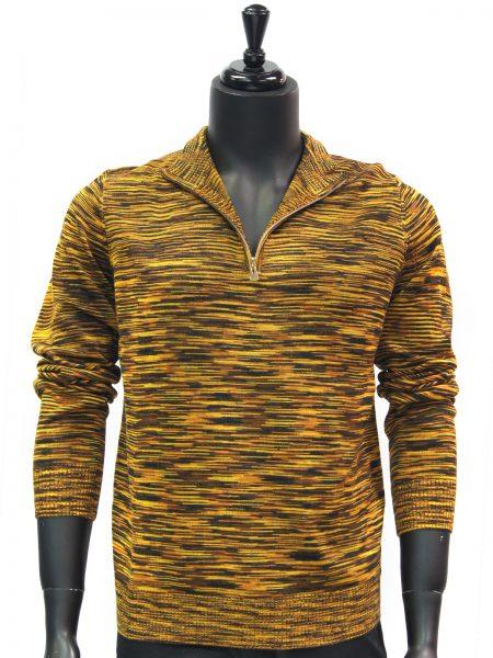 Prestige Mens Mustard Yellow Multicolor Quarter Zip Up Lightweight Sweater
