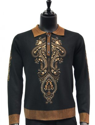 New Prestige Mens Bronze Black Elegant Embroidered Quarter Button Up Sweater