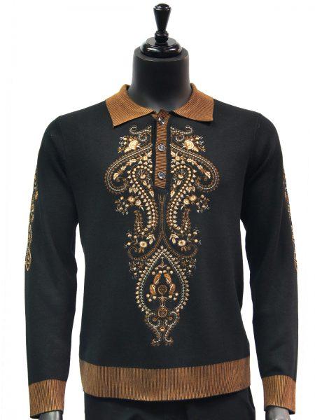 New Prestige Mens Bronze Black Elegant Embroidered Quarter Button Up Sweater