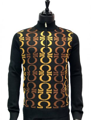 New Prestige Mens Black Brown Patterned Quarter Zip Up Casual Sweater