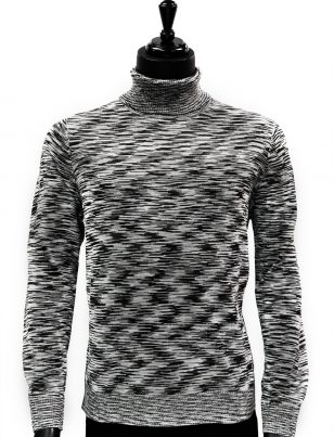 Prestige Mens Black White Multicolor Lightweight Casual Turtle Neck Sweater