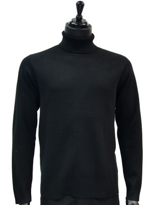 Prestige Mens Black Luxurious Smooth Turtle Neck Dress Casual Sweater
