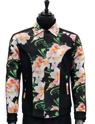 Angelino Mens Pink Black Floral Print Color Block Snap Button Bomber Jacket