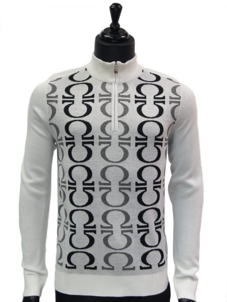 New Prestige Mens White Black Gray Patterned Quarter Zip Up Casual Sweater
