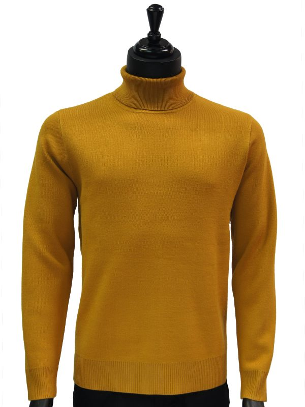 Prestige Mens Gold Luxurious Smooth Turtle Neck Dress Casual Sweater