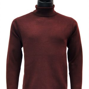 Prestige Mens Burgundy Raisin Luxurious Soft Feel Turtle Neck Dress Casual Sweater