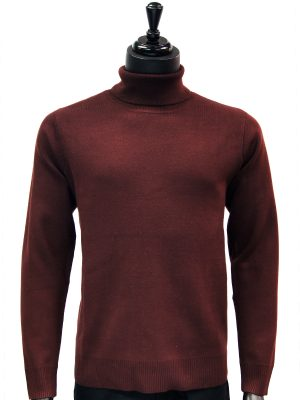 Prestige Mens Brown Raisin Luxurious Smooth Turtle Neck Dress Casual Sweater