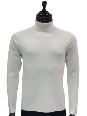 Prestige Mens White Luxurious Smooth Turtle Neck Dress Casual Sweater
