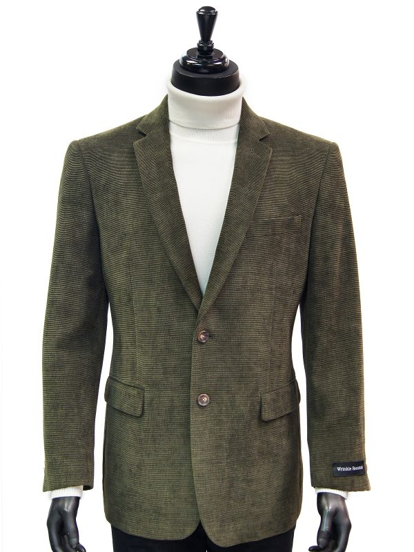 Afazzy Men Olive Chenille Texture Wrinkle Resistant 2 Button Casual Blazer